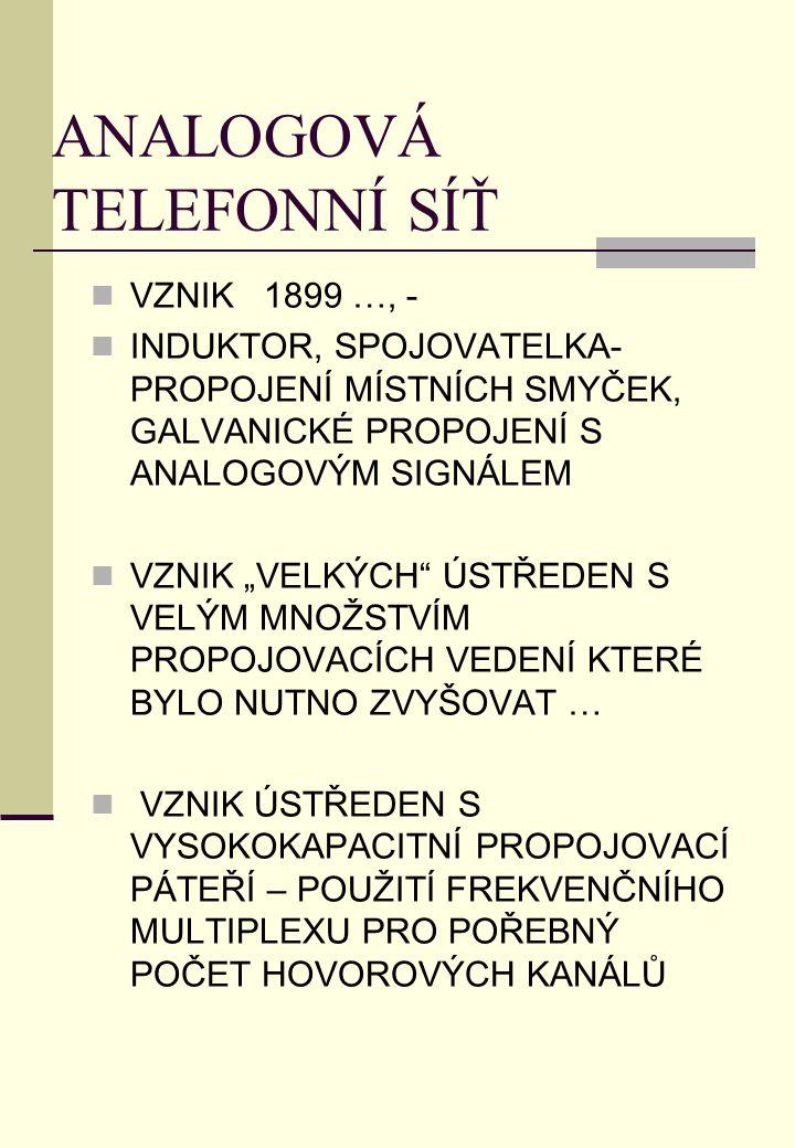 """ANALOGOVÁ TELEFONNÍ SÍŤ VZNIK 1899 …, - INDUKTOR, SPOJOVATELKA- PROPOJENÍ MÍSTNÍCH SMYČEK, GALVANICKÉ PROPOJENÍ S ANALOGOVÝM SIGNÁLEM VZNIK """"VELKÝCH"""""""