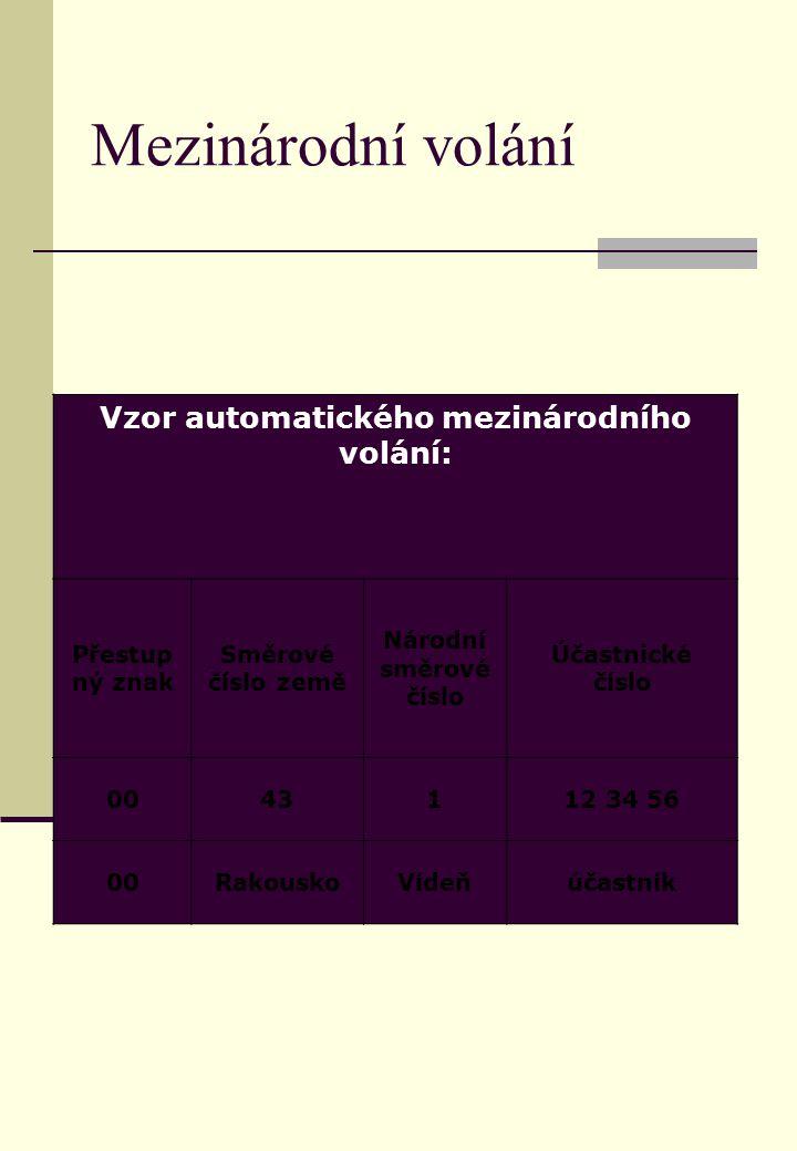 Mezinárodní volání Vzor automatického mezinárodního volání: Přestup ný znak Směrové číslo země Národní směrové číslo Účastnické číslo 0043112 34 56 00