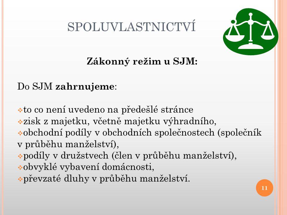 SPOLUVLASTNICTVÍ Zákonný režim u SJM: Do SJM zahrnujeme :  to co není uvedeno na předešlé stránce  zisk z majetku, včetně majetku výhradního,  obch
