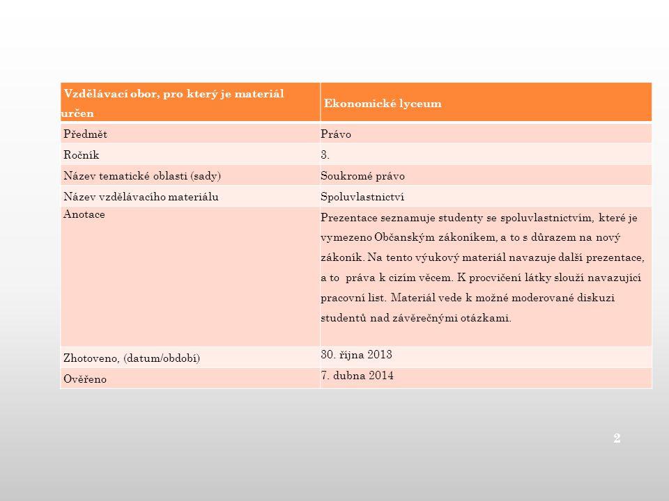 Vzdělávací obor, pro který je materiál určen Ekonomické lyceum Předmět Právo Ročník 3. Název tematické oblasti (sady) Soukromé právo Název vzdělávacíh