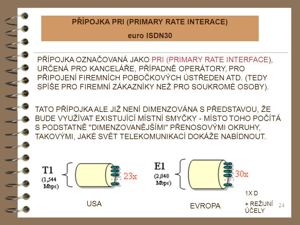 24 PŘÍPOJKA PRI (PRIMARY RATE INTERACE) euro ISDN30 PŘÍPOJKA OZNAČOVANÁ JAKO PRI (PRIMARY RATE INTERFACE), URČENÁ PRO KANCELÁŘE, PŘÍPADNĚ OPERÁTORY, P