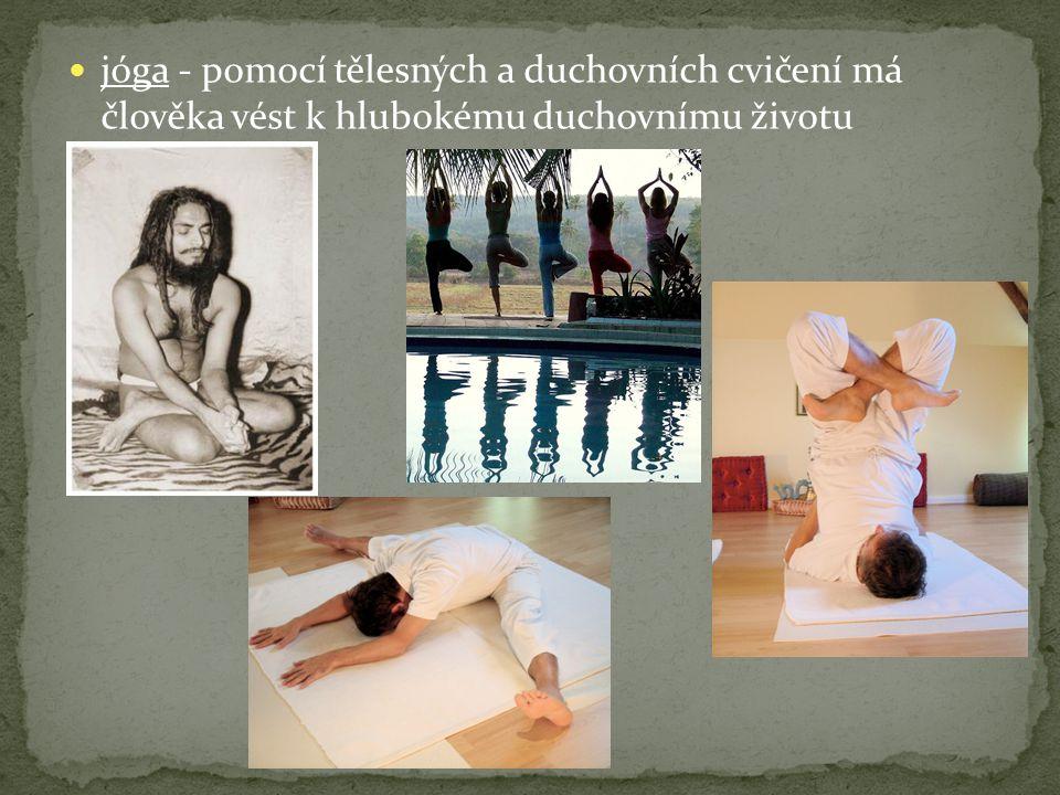 jóga - pomocí tělesných a duchovních cvičení má člověka vést k hlubokému duchovnímu životu
