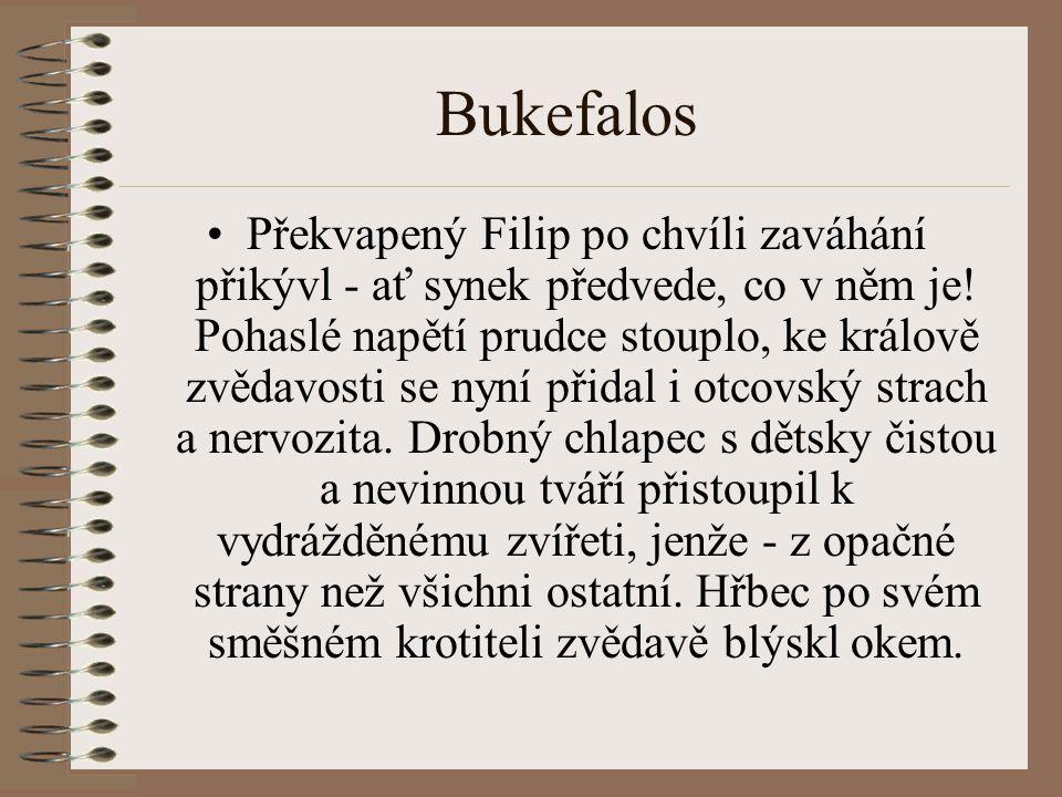 Bukefalos Překvapený Filip po chvíli zaváhání přikývl - ať synek předvede, co v něm je.