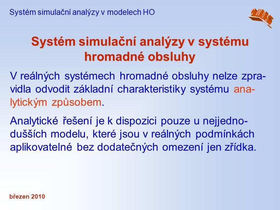 březen 2010 Systém simulační analýzy v systému hromadné obsluhy Systém simulační analýzy v modelech HO V reálných systémech hromadné obsluhy nelze zpr