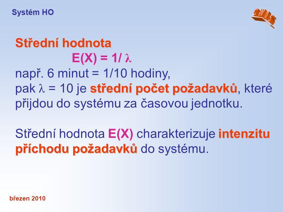 březen 2010 Střední hodnota E(X) = 1/ λ např. 6 minut = 1/10 hodiny, střední počet požadavků pak λ = 10 je střední počet požadavků, které přijdou do s