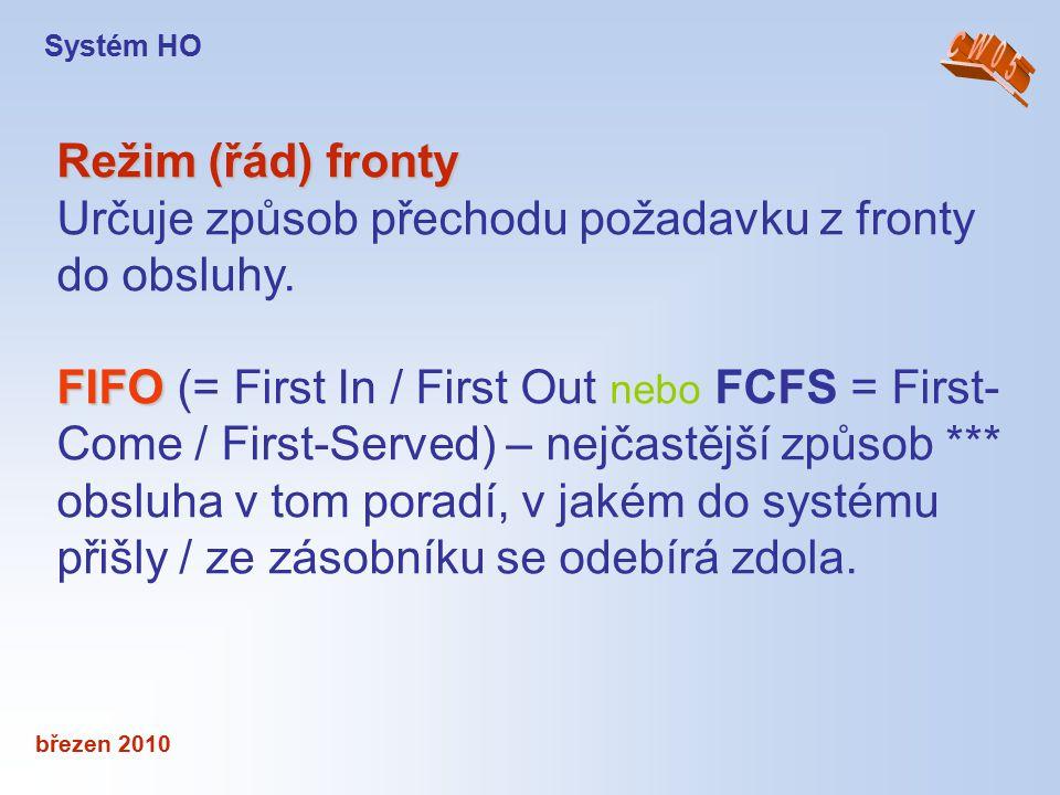 březen 2010 Režim (řád) fronty Určuje způsob přechodu požadavku z fronty do obsluhy. FIFO FIFO (= First In / First Out nebo FCFS = First- Come / First