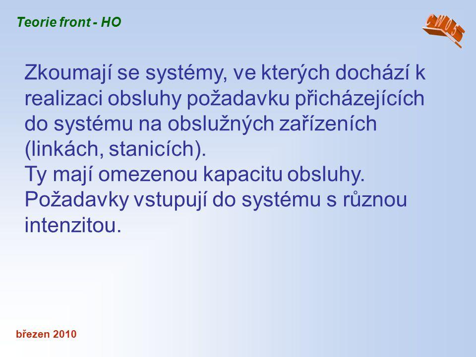 březen 2010 Zkoumají se systémy, ve kterých dochází k realizaci obsluhy požadavku přicházejících do systému na obslužných zařízeních (linkách, stanicí