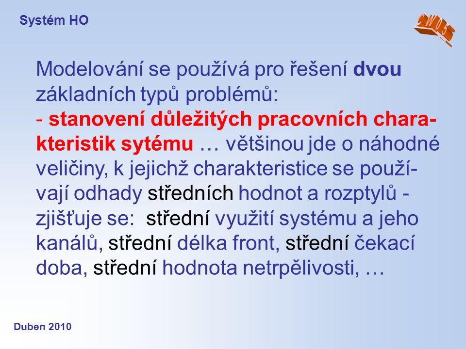 Systém HO Duben 2010 Modelování se používá pro řešení dvou základních typů problémů: - stanovení důležitých pracovních chara- kteristik sytému … větši