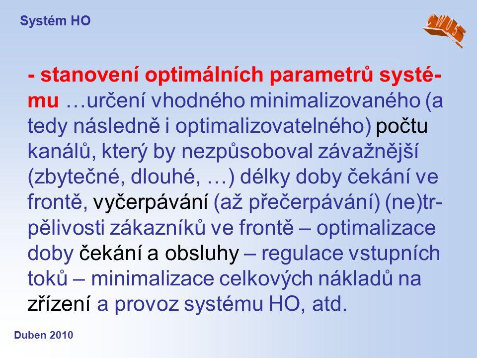 Systém HO Duben 2010 - stanovení optimálních parametrů systé- mu …určení vhodného minimalizovaného (a tedy následně i optimalizovatelného) počtu kanál