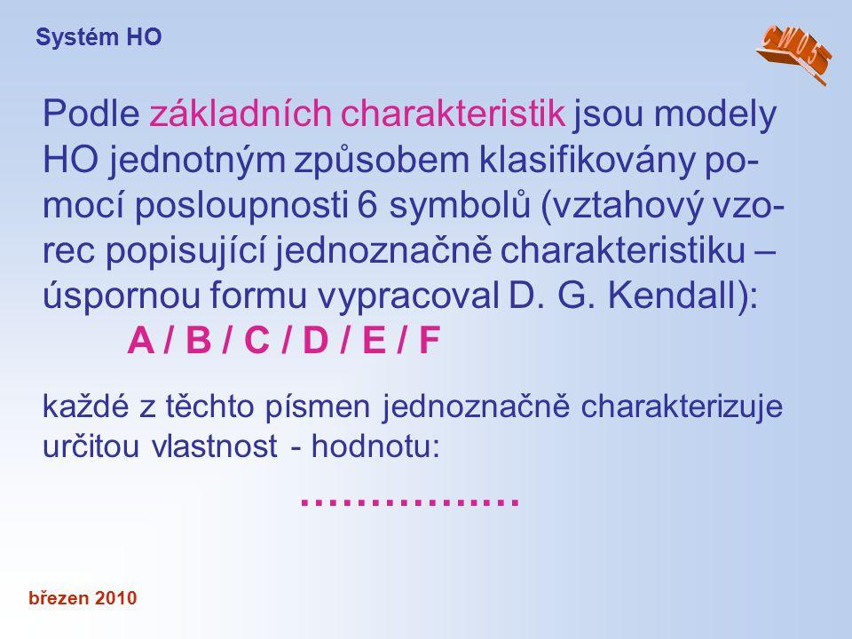 březen 2010 Podle základních charakteristik jsou modely HO jednotným způsobem klasifikovány po- mocí posloupnosti 6 symbolů (vztahový vzo- rec popisuj
