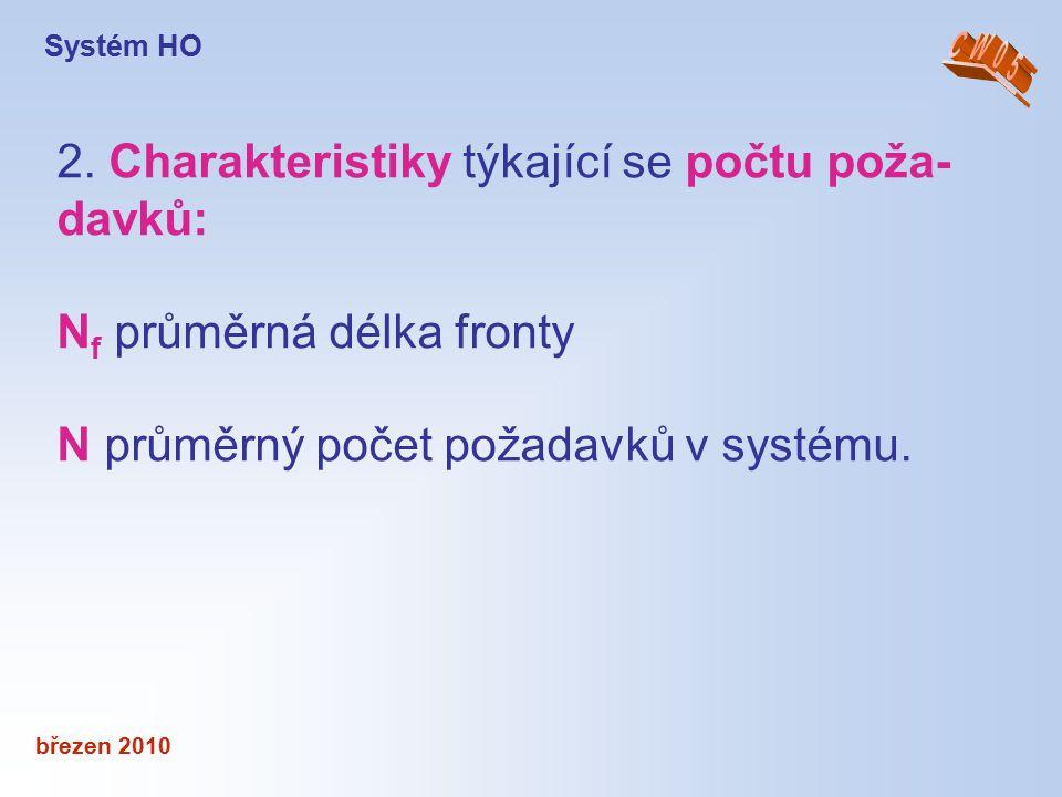 březen 2010 2. Charakteristiky týkající se počtu poža- davků: N f průměrná délka fronty N průměrný počet požadavků v systému. Systém HO