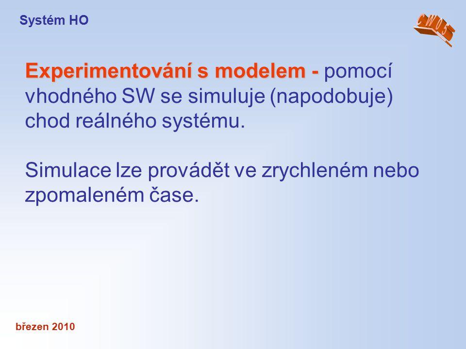 březen 2010 Experimentování s modelem - Experimentování s modelem - pomocí vhodného SW se simuluje (napodobuje) chod reálného systému. Simulace lze pr