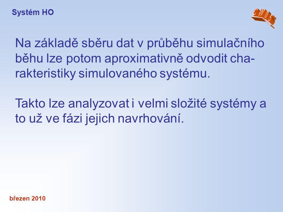 březen 2010 Na základě sběru dat v průběhu simulačního běhu lze potom aproximativně odvodit cha- rakteristiky simulovaného systému. Takto lze analyzov