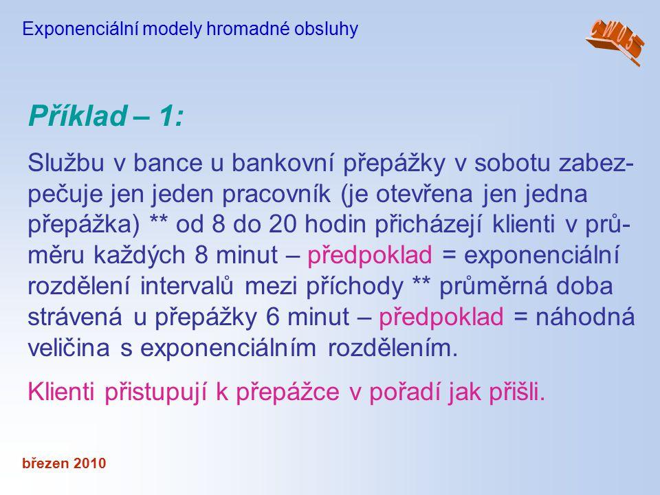 březen 2010 Exponenciální modely hromadné obsluhy Příklad – 1: Službu v bance u bankovní přepážky v sobotu zabez- pečuje jen jeden pracovník (je otevř