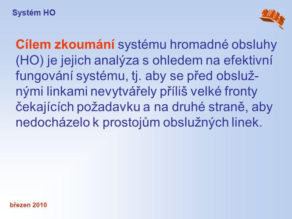 březen 2010 Cílem zkoumání systému hromadné obsluhy (HO) je jejich analýza s ohledem na efektivní fungování systému, tj. aby se před obsluž- nými link
