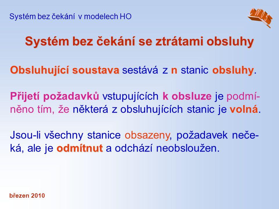 březen 2010 Systém bez čekání se ztrátamiobsluhy Systém bez čekání se ztrátami obsluhy Systém bez čekání v modelech HO Obsluhující soustavaobsluhy Obs