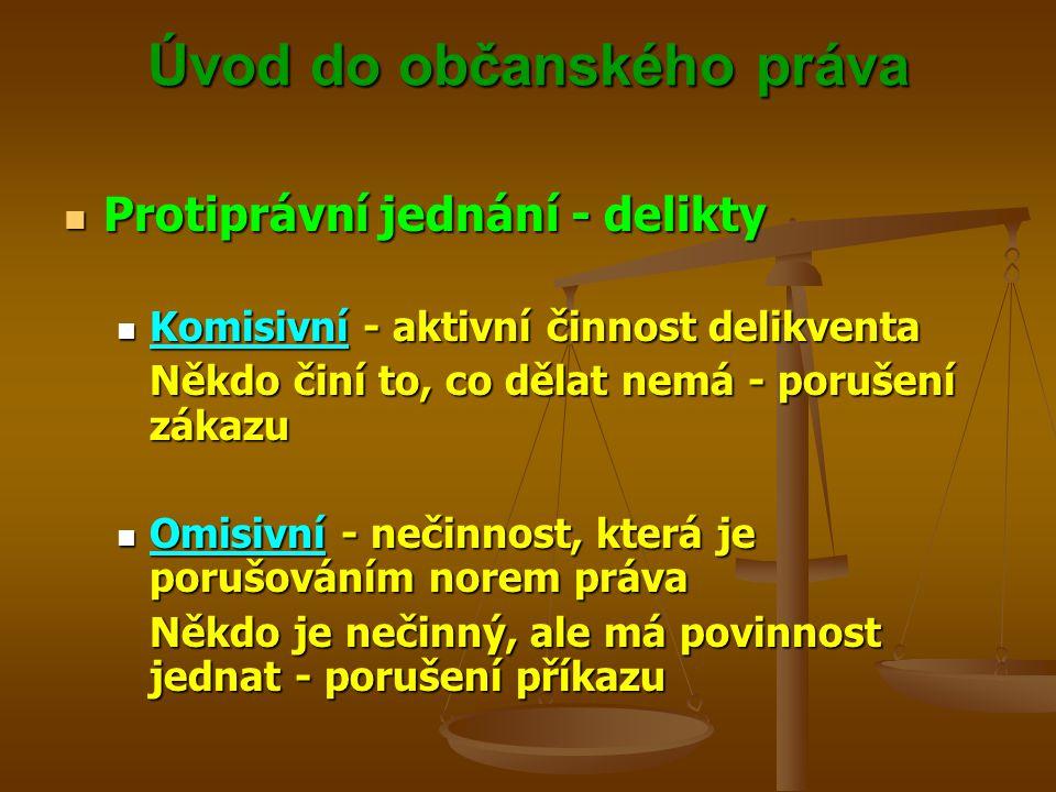 Úvod do občanského práva Protiprávní jednání - delikty Protiprávní jednání - delikty Komisivní - aktivní činnost delikventa Komisivní - aktivní činnost delikventa Někdo činí to, co dělat nemá - porušení zákazu Omisivní - nečinnost, která je porušováním norem práva Omisivní - nečinnost, která je porušováním norem práva Někdo je nečinný, ale má povinnost jednat - porušení příkazu