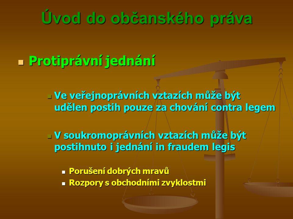 Úvod do občanského práva Protiprávní jednání Protiprávní jednání Ve veřejnoprávních vztazích může být udělen postih pouze za chování contra legem Ve veřejnoprávních vztazích může být udělen postih pouze za chování contra legem V soukromoprávních vztazích může být postihnuto i jednání in fraudem legis V soukromoprávních vztazích může být postihnuto i jednání in fraudem legis Porušení dobrých mravů Porušení dobrých mravů Rozpory s obchodními zvyklostmi Rozpory s obchodními zvyklostmi