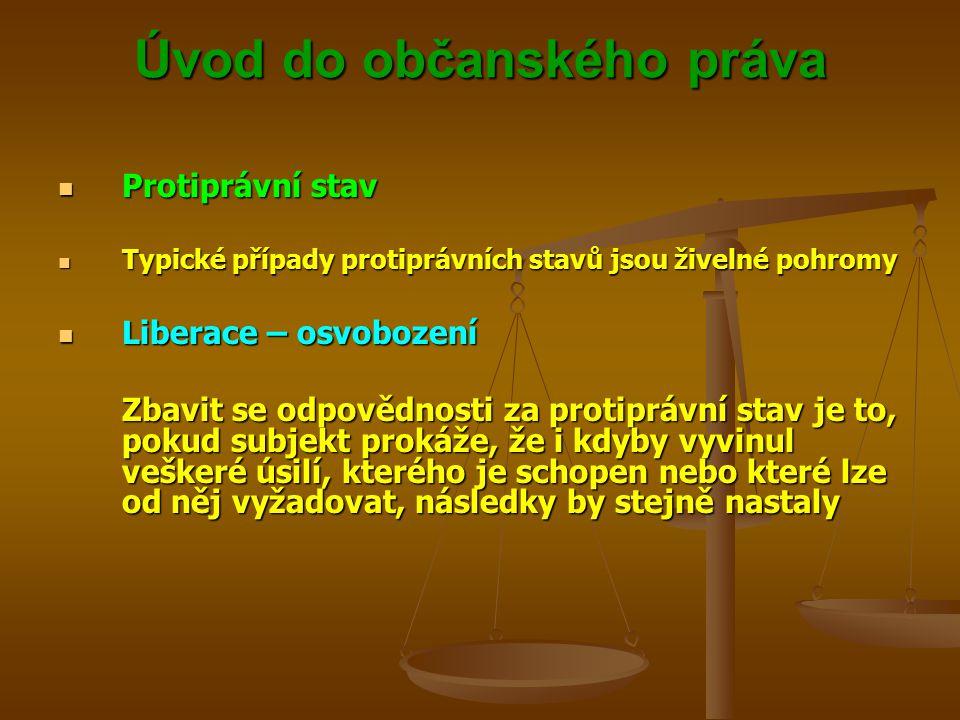 Úvod do občanského práva Protiprávní stav Protiprávní stav Typické případy protiprávních stavů jsou živelné pohromy Typické případy protiprávních stavů jsou živelné pohromy Liberace – osvobození Liberace – osvobození Zbavit se odpovědnosti za protiprávní stav je to, pokud subjekt prokáže, že i kdyby vyvinul veškeré úsilí, kterého je schopen nebo které lze od něj vyžadovat, následky by stejně nastaly