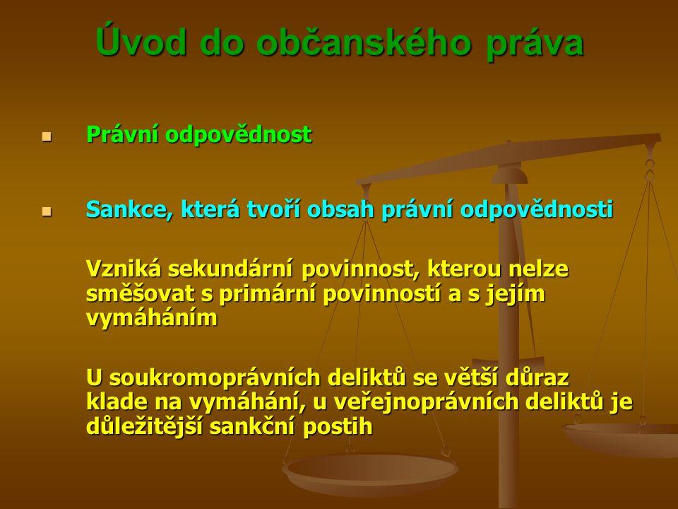 Úvod do občanského práva Právní odpovědnost Právní odpovědnost Sankce, která tvoří obsah právní odpovědnosti Sankce, která tvoří obsah právní odpovědnosti Vzniká sekundární povinnost, kterou nelze směšovat s primární povinností a s jejím vymáháním U soukromoprávních deliktů se větší důraz klade na vymáhání, u veřejnoprávních deliktů je důležitější sankční postih
