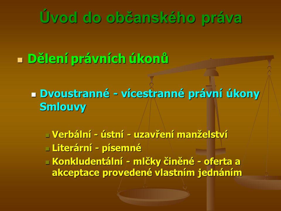 Úvod do občanského práva Dělení právních úkonů Dělení právních úkonů Dvoustranné - vícestranné právní úkony Smlouvy Dvoustranné - vícestranné právní úkony Smlouvy Verbální - ústní - uzavření manželství Verbální - ústní - uzavření manželství Literární - písemné Literární - písemné Konkludentální - mlčky činěné - oferta a akceptace provedené vlastním jednáním Konkludentální - mlčky činěné - oferta a akceptace provedené vlastním jednáním