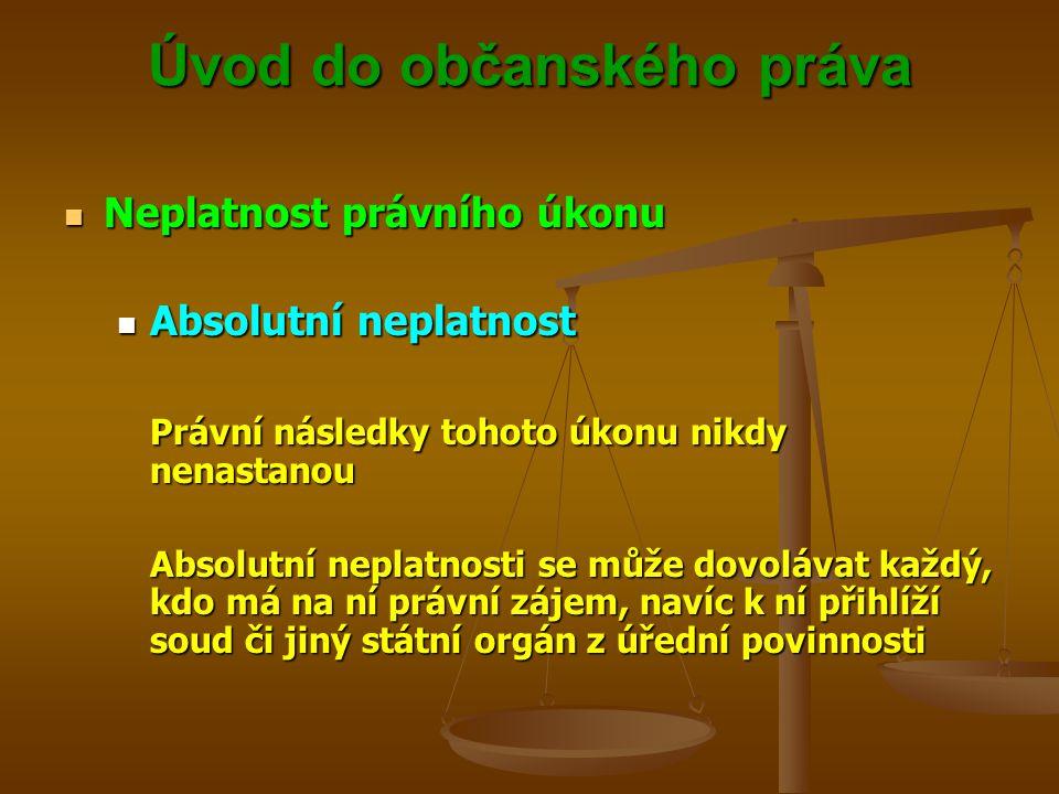 Úvod do občanského práva Neplatnost právního úkonu Neplatnost právního úkonu Absolutní neplatnost Absolutní neplatnost Právní následky tohoto úkonu nikdy nenastanou Absolutní neplatnosti se může dovolávat každý, kdo má na ní právní zájem, navíc k ní přihlíží soud či jiný státní orgán z úřední povinnosti