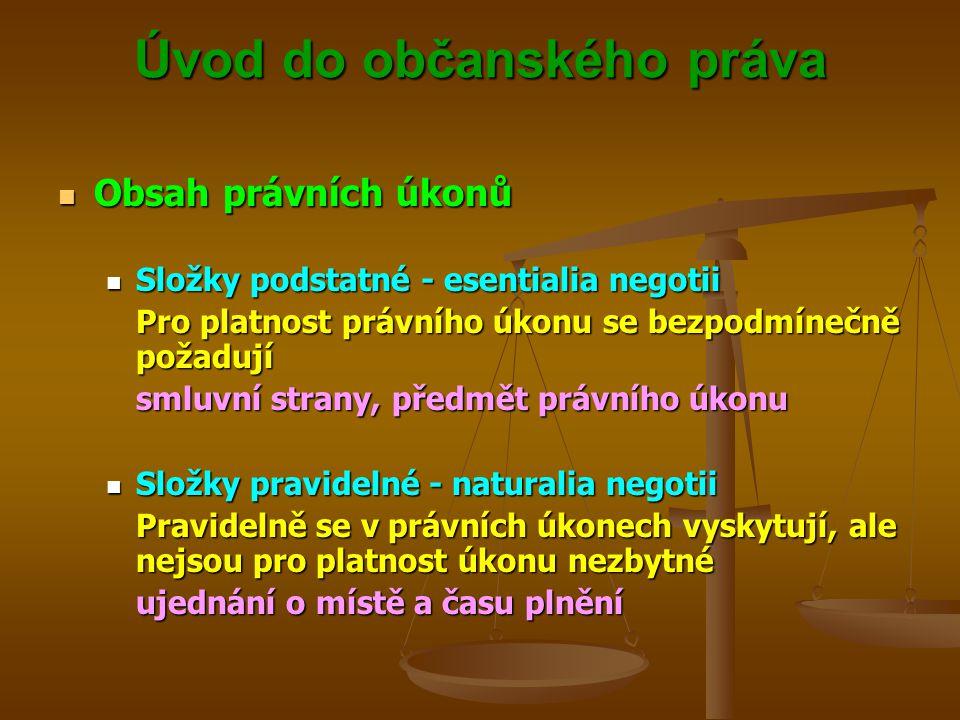 Úvod do občanského práva Obsah právních úkonů Obsah právních úkonů Složky podstatné - esentialia negotii Složky podstatné - esentialia negotii Pro platnost právního úkonu se bezpodmínečně požadují smluvní strany, předmět právního úkonu Složky pravidelné - naturalia negotii Složky pravidelné - naturalia negotii Pravidelně se v právních úkonech vyskytují, ale nejsou pro platnost úkonu nezbytné ujednání o místě a času plnění