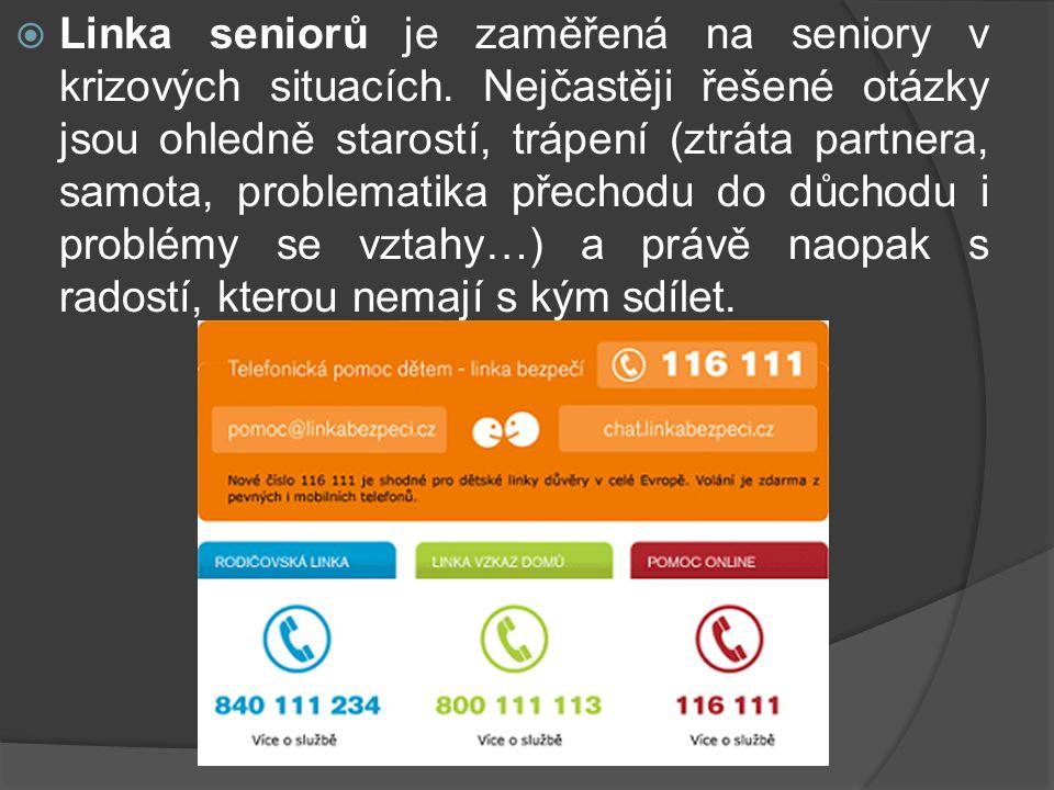  Linka seniorů je zaměřená na seniory v krizových situacích.