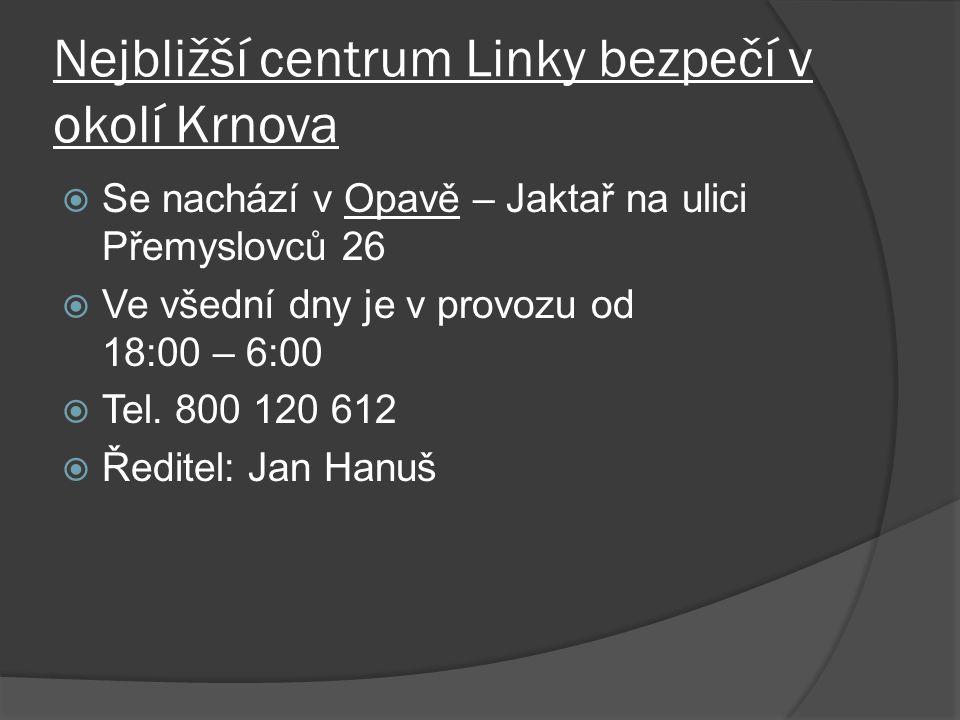 Nejbližší centrum Linky bezpečí v okolí Krnova  Se nachází v Opavě – Jaktař na ulici Přemyslovců 26  Ve všední dny je v provozu od 18:00 – 6:00  Tel.