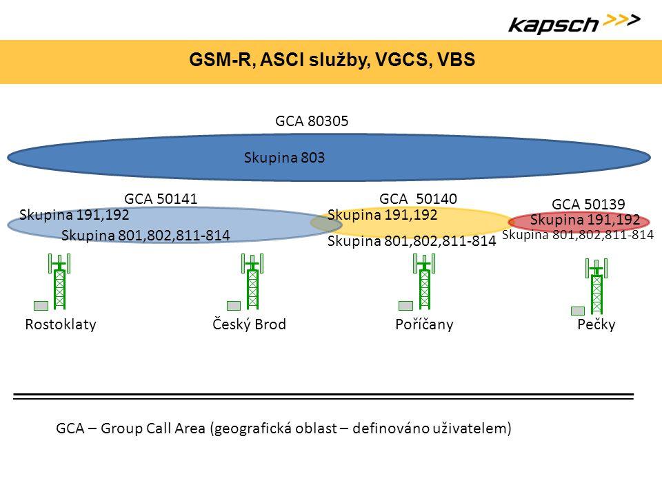 GSM-R, ASCI služby, VGCS, VBS RostoklatyČeský BrodPoříčany Pečky GCA 50141 GCA – Group Call Area (geografická oblast – definováno uživatelem) GCA 5014