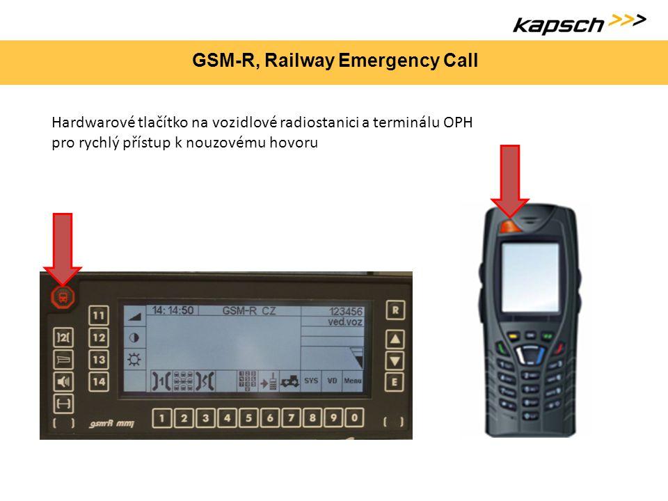 GSM-R, Railway Emergency Call Hardwarové tlačítko na vozidlové radiostanici a terminálu OPH pro rychlý přístup k nouzovému hovoru