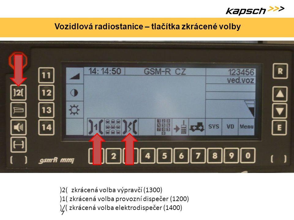 Vozidlová radiostanice – tlačítka zkrácené volby )2( zkrácená volba výpravčí (1300) )1( zkrácená volba provozní dispečer (1200) ) ( zkrácená volba ele