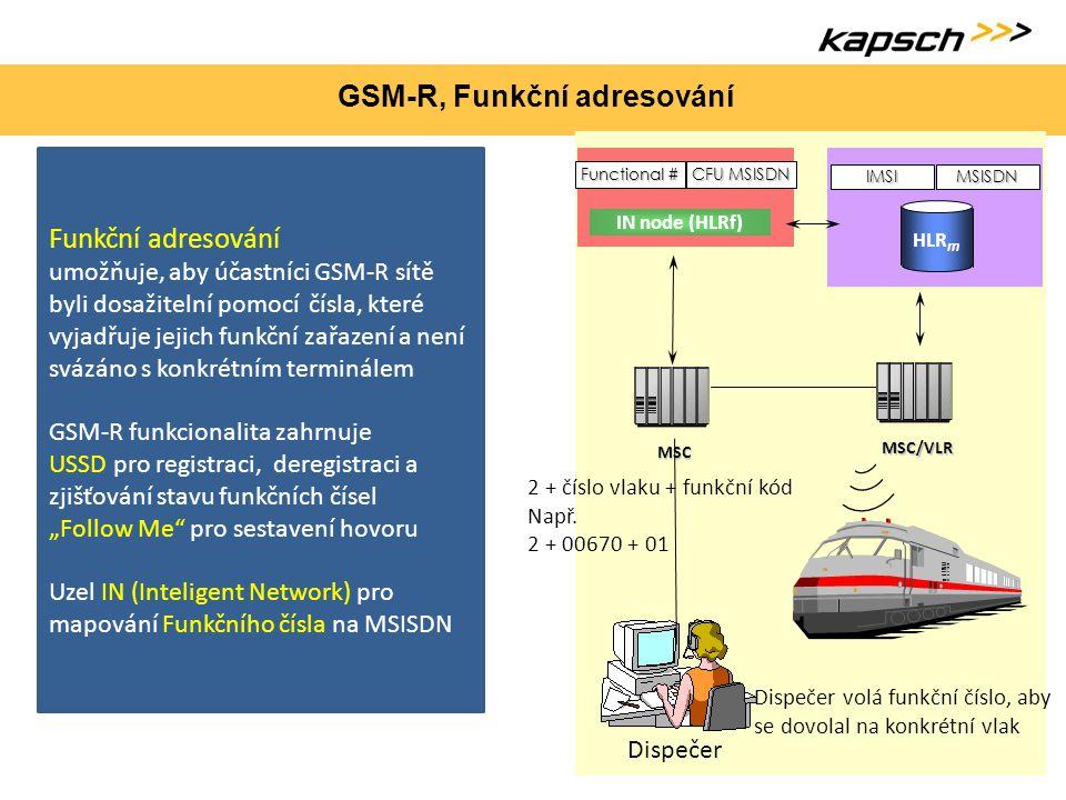 GSM-R, Funkční adresování Funkční adresování umožňuje, aby účastníci GSM-R sítě byli dosažitelní pomocí čísla, které vyjadřuje jejich funkční zařazení