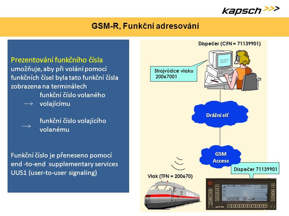 GSM-R, Funkční adresování Prezentování funkčního čísla umožňuje, aby při volání pomocí funkčních čísel byla tato funkční čísla zobrazena na terminálec