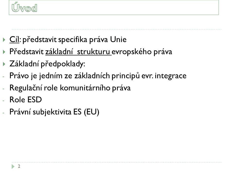 2  Cíl: představit specifika práva Unie  Představit základní strukturu evropského práva  Základní předpoklady: - Právo je jedním ze základních prin