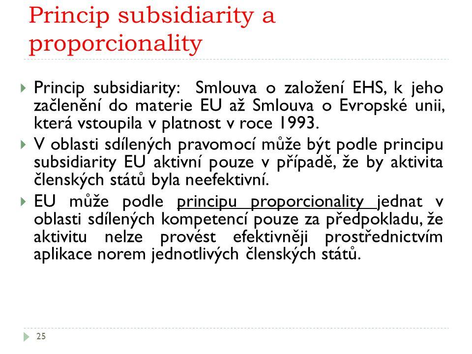 Princip subsidiarity a proporcionality 25  Princip subsidiarity: Smlouva o založení EHS, k jeho začlenění do materie EU až Smlouva o Evropské unii, která vstoupila v platnost v roce 1993.
