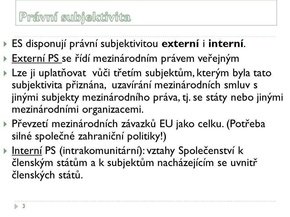 3  ES disponují právní subjektivitou externí i interní.  Externí PS se řídí mezinárodním právem veřejným  Lze ji uplatňovat vůči třetím subjektům,