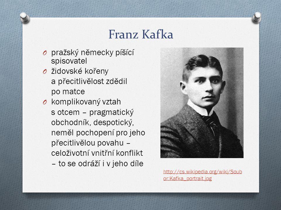 Franz Kafka O pražský německy píšící spisovatel O židovské kořeny a přecitlivělost zdědil po matce O komplikovaný vztah s otcem – pragmatický obchodní