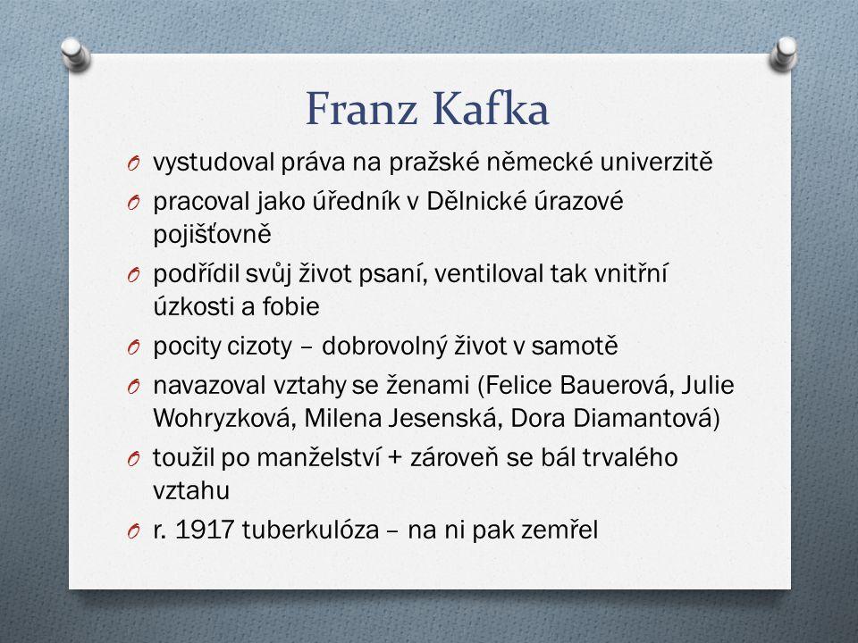 Franz Kafka O vystudoval práva na pražské německé univerzitě O pracoval jako úředník v Dělnické úrazové pojišťovně O podřídil svůj život psaní, ventil
