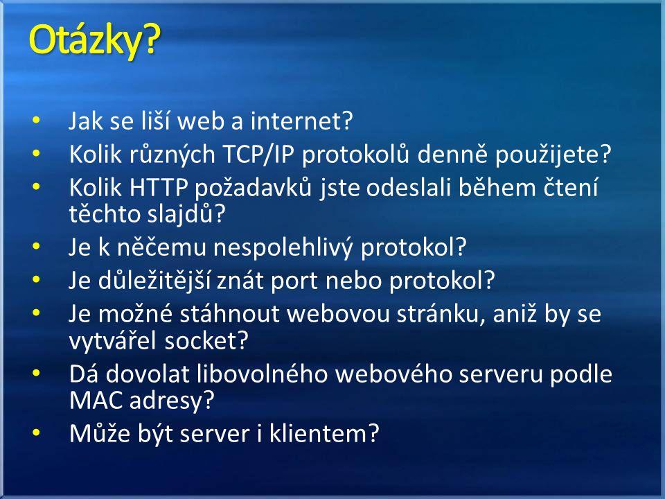 Jak se liší web a internet. Kolik různých TCP/IP protokolů denně použijete.