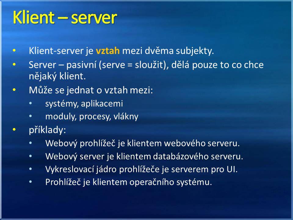 Klient-server je vztah mezi dvěma subjekty.