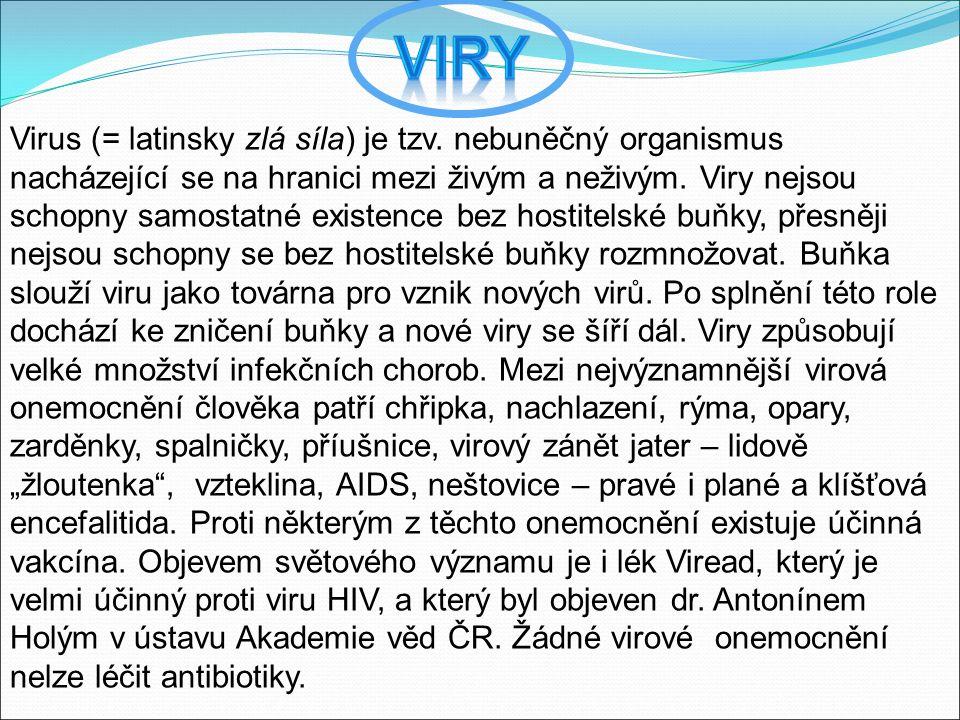 Virus (= latinsky zlá síla) je tzv. nebuněčný organismus nacházející se na hranici mezi živým a neživým. Viry nejsou schopny samostatné existence bez