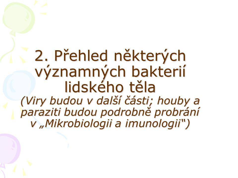 """2. Přehled některých významných bakterií lidského těla (Viry budou v další části; houby a paraziti budou podrobně probrání v """"Mikrobiologii a imunolog"""