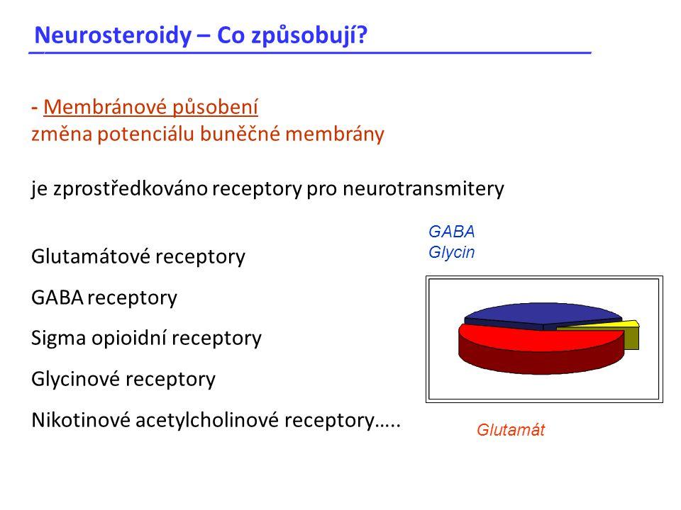 Neurosteroidy – Co způsobují? _____________________________________ - Membránové působení změna potenciálu buněčné membrány je zprostředkováno recepto