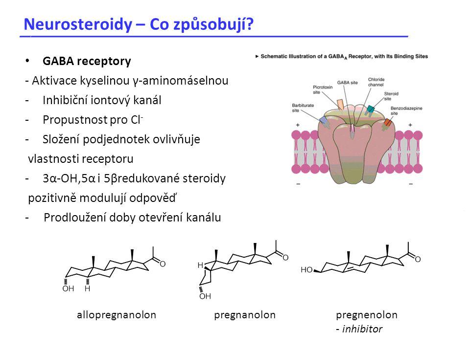 Neurosteroidy – Co způsobují? _____________________________________ GABA receptory - Aktivace kyselinou γ-aminomáselnou -Inhibiční iontový kanál -Prop
