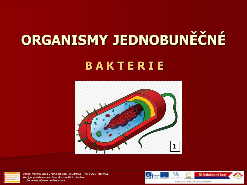 ORGANISMY JEDNOBUNĚČNÉ B A K T E R I E Učební materiál vznikl v rámci projektu INFORMACE – INSPIRACE – INOVACE, který je spolufinancován Evropským soc