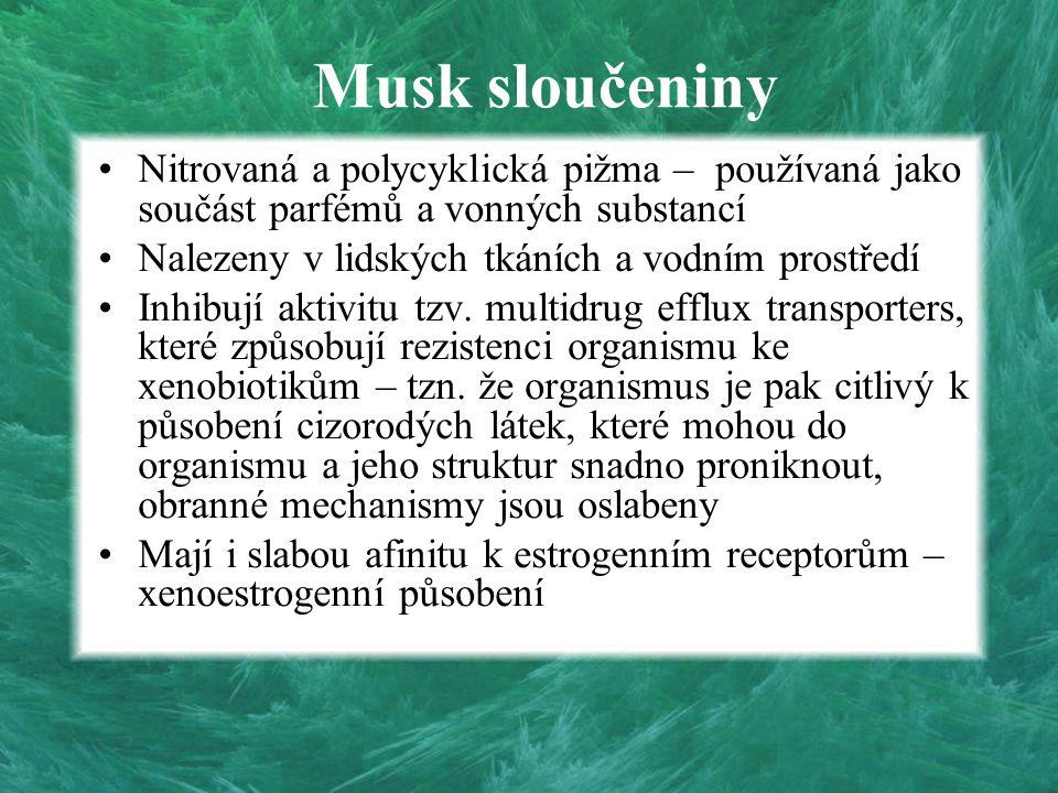 Musk sloučeniny Nitrovaná a polycyklická pižma – používaná jako součást parfémů a vonných substancí Nalezeny v lidských tkáních a vodním prostředí Inh