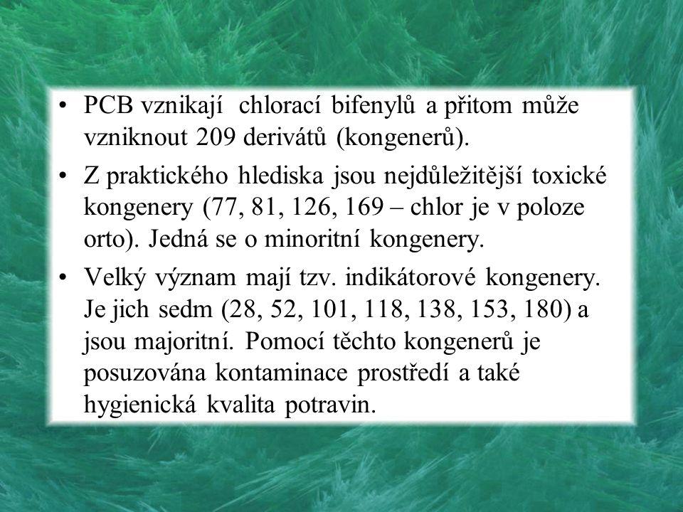PCB vznikají chlorací bifenylů a přitom může vzniknout 209 derivátů (kongenerů). Z praktického hlediska jsou nejdůležitější toxické kongenery (77, 81,