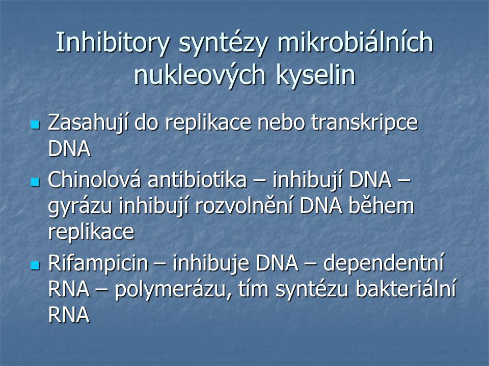 Inhibitory syntézy mikrobiálních nukleových kyselin Zasahují do replikace nebo transkripce DNA Zasahují do replikace nebo transkripce DNA Chinolová an