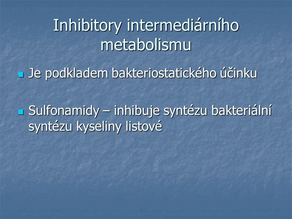 Inhibitory intermediárního metabolismu Je podkladem bakteriostatického účinku Je podkladem bakteriostatického účinku Sulfonamidy – inhibuje syntézu ba